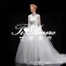 Элегантный аппликация алибаба кружева видеть сквозь свадебное платье в свадебные платья/ Китай последний высокий воротник мусульманские свадебные платья