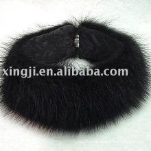 Diadema de piel de perro de mapache negro
