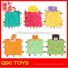 china personnalisé pas cher doux peluche couverture de bébé à la main à vendre