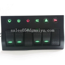 New Waterproof 6 Gang LED Boat/Marine Switch Panel