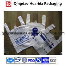 El logotipo personalizado imprimió la bolsa al por menor plástica del mercado de la camiseta de la camiseta al por menor del HDPE