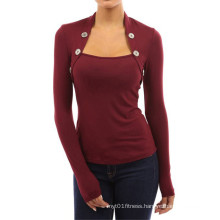 Women Long Sleeve Undershirt with Buttons Cotton Pure Color T Shirt