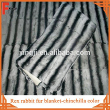 Top quality whole skin fur dyed color chinchilla rex rabbit blanket