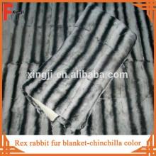 Высокое качество меха кожи крашеный цвет шиншилла Рекс кролика одеяло