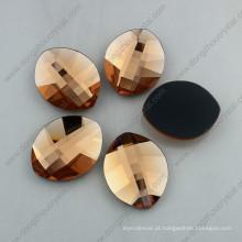 Pedras de vidro leves do Flatback da forma de folha do pêssego (DZ-1294)
