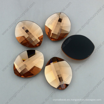Light Peach Leaf Shape Flatback Glass Stones (DZ-1294)