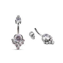 Charm High Quantity Titanium AAA Zircon Stone Women Navel Belly Ring Wholesale Body Jewelry