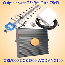 High Quality 900/1800/2100MHz Tri Band Cell Phone Mobile Signal Repeater 27dB Gain 75dB