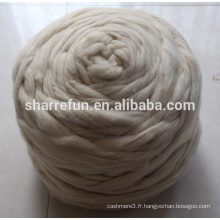 Hauts en fibre de laine de mouton chinois naturel blanc