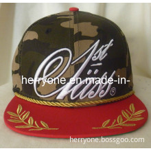 Camo Cotton with Golden Embroidery Snapback Cap