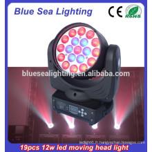 Hot selling 19pcs 12w zoom conduit lumière de lavage de tête mobile
