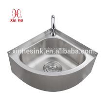 Aço inoxidável Outdoor Pedestal ou wallmount lavatório, pia de canto de aço inoxidável