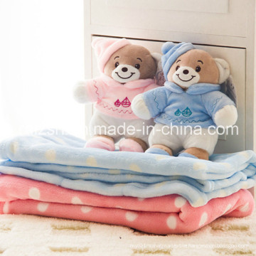 Baby Blanket with Plush Toys Bear Coral Fleece Blanket