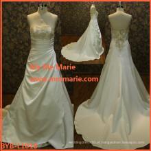 Vestido de noiva bonito vestido de noiva de vestido de bola de princesa inchada vestido de noiva de linho branco BYB-L1018