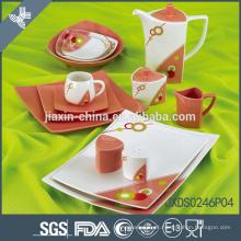 Iraniano 46PCS Square forma Porcelana Dinner Set, conjunto de jantar flor, conjunto colorido