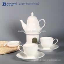 Pure Branco Bom Design Vintage Tea Set, chá de cerâmica para um conjunto Atacado