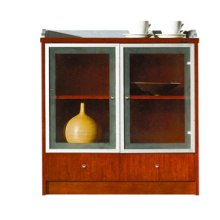 office furniture design modular wood reddish cupboard with glass doors drawers