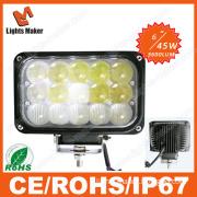 New Arrival Lml-3745 45W 6'' 15PCS*3W CREE LED Portable Work Light Combo Beam Rectangle 45W Work Light LED