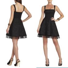 HC0007 square neckline sleeveless wide sash empire waist short skirt with tulle hemline unique designer cocktail dress 2014