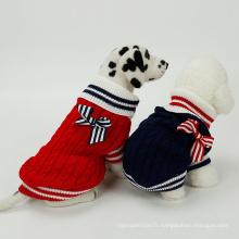 Bowtie Pet pull tricoté à la main de Noël chien pull