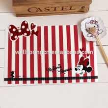 Popular good printing customized kids clear plastic table mat