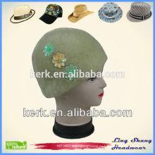 Классическая ангорская трикотажная шапочка с модной отделкой зимней головной убор