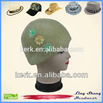 Classic Angora knit Hat custom beanie with fashionable decoration winter headwear