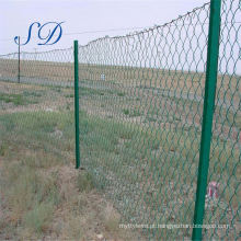 Exportar cerca de elo de corrente de campo revestido de PVC verde