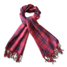 Lady Fashion Wool/Acrylic Knitted Winter Scarf in Check Pattern (YKY4048)