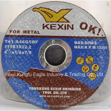 Disco abrasivo de corte de metal Kexin de alta calidad para metal
