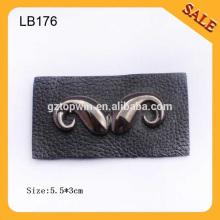 LB176 Custom western jean leather patch label with custom metal mustache logo