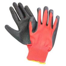 Gants en polyester rouge Crinkle Latex Gants revêtus Gant de travail de construction