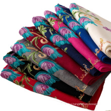 2017 new arrival winter pure color embroidery flower fake cashmere scarf india pashmina scarves