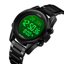 2020 SKMEI 1667 Luxury Muslim Qibla Watch Men 3 ATM Water Resistant Stainless Steel Back Watch