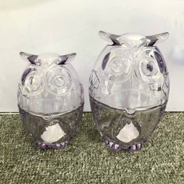 Owl Shaped Glass Candle Jars Colorful Glass