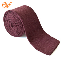 Cravate tricotée en maille solide pour homme Cravate tressée fine en maille