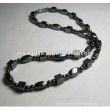 Collier en perles carrées en hématite