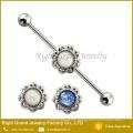 Free Sample Body Piercing Jewelry 14G White Blue Opal Flower Industrial Barbell Piercing Jewelry
