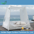 White rattan outdoor side sunbed with canopy