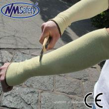 NMSAFETY en388 mangas de fibras de aramida amarelas
