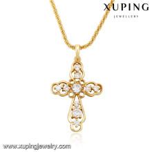 32707 Xuping charme da moda presentes de natal banhado a ouro pingente de cruz