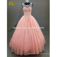 ED Bridal Prom Dress 2017 Scoop Neck Ball Gown Orange Tulle and Crystals Long Robe De Bal