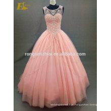 ED Bridal Prom Dress 2017 Scoop Neck Ball Gown Orange Tul e cristais Long Robe De Bal