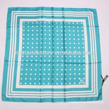 2014 francês marca 100% seda cachecol branco azul polka dot