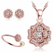 Wholesale 925 sterling silver micro zircon camellia jewelry set