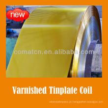 verniz dourado e bobina de folha de Flandres revestido branco para pintura podem tampa uso