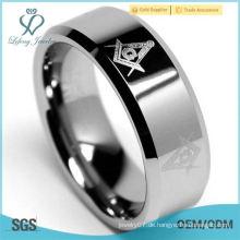 Wolframkarbid 8mm Freimaurer Herren Ring