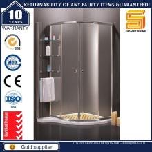 Rodillo curvado curvado puerta de cristal de ducha con estante