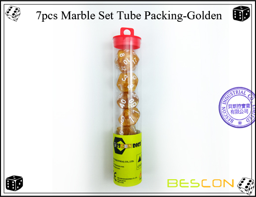 7pcs Marble Set Tube Packing-Golden