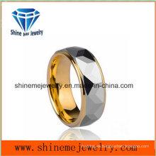 Hombres Stye único anillo de oro de lujo recubrimiento anillo de tungsteno